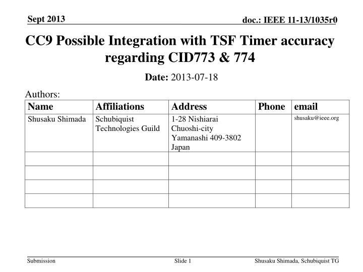 PPT - CC9 Possible Integration with TSF Timer accuracy
