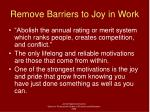 remove barriers to joy in work