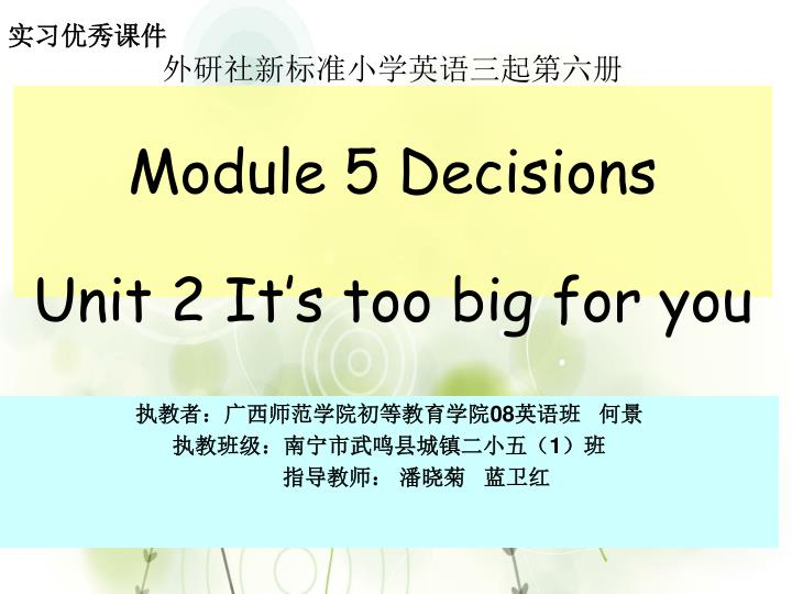 module 5 decisions unit 2 it s too big for you n.
