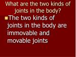 what are the two kinds of joints in the body