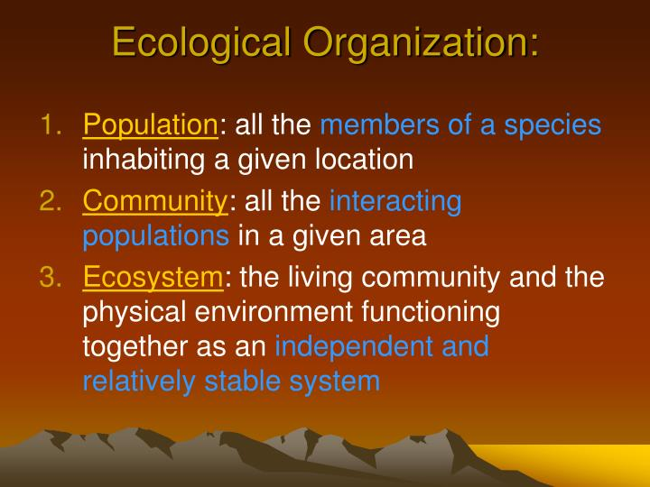 Ecological organization
