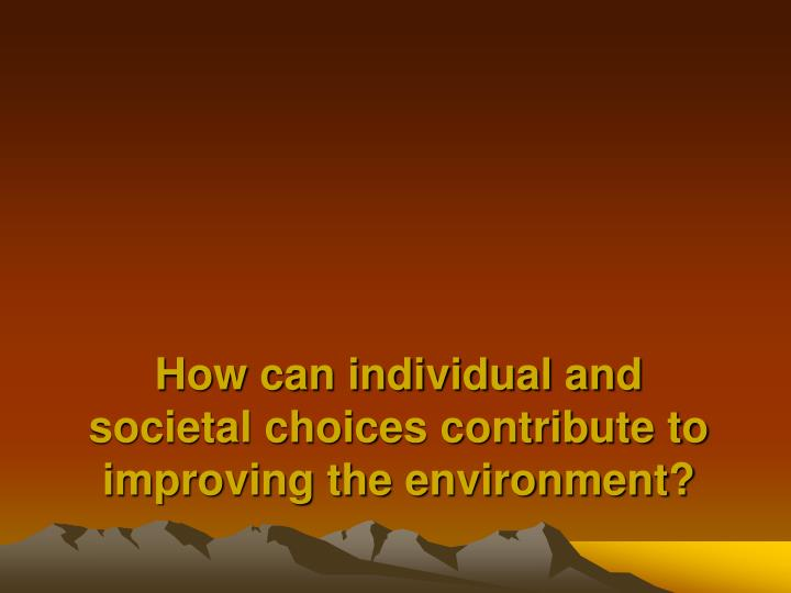 How can individual and societal choices contribute to improving the environment?
