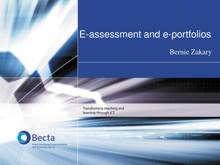 e assessment and e portfolios n.