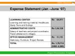expense statement jan june 07