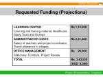 requested funding projections