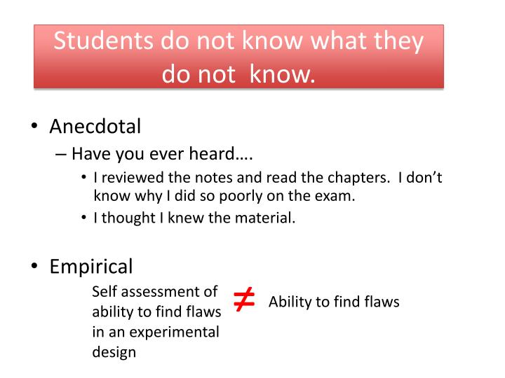 students do not know what they do not know n.