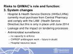 risks to qhmac s role and function 3 system changes