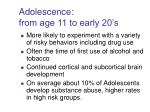 adolescence from age 11 to early 20 s