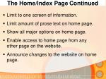 the home index page continued