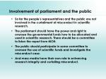 involvement of parliament and the public
