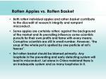 rotten apples vs rotten basket
