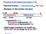 floating point representation 1 2
