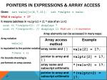 pointers in expressions array access