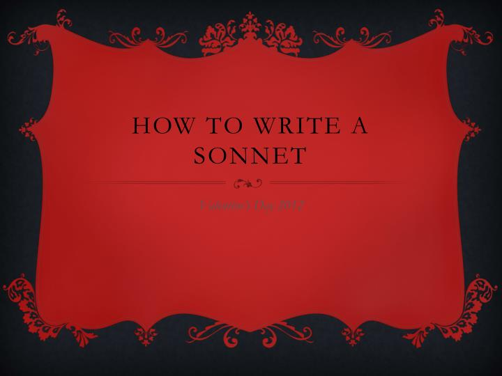 how to write a sonnet n.