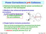 power corrections in p a collisions