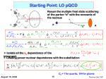 starting point lo pqcd