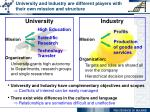 university and industry are different players with their own mission and structure