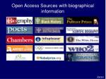 open access sources with biographical information
