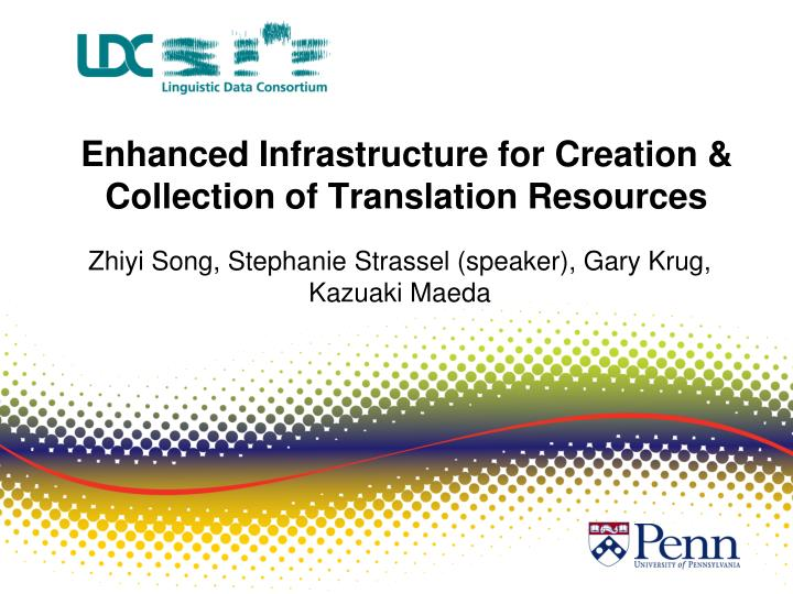 enhanced infrastructure for creation collection of translation resources n.