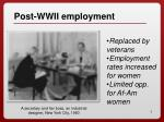 post wwii employment