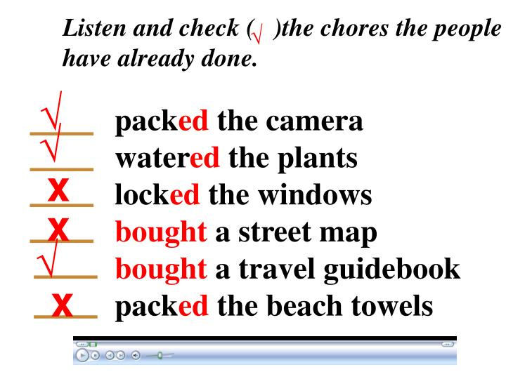 Listen and check (   )the chores the people