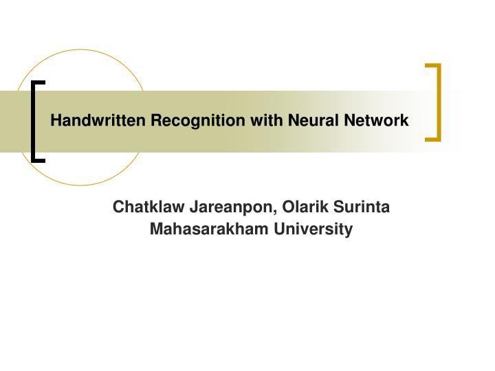 handwritten recognition with neural network n.