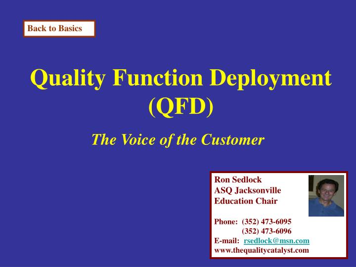 quality function deployment qfd n.