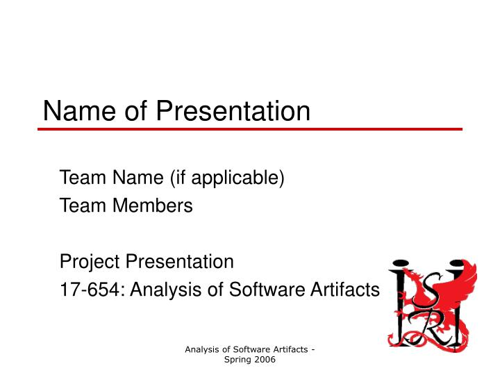 name of presentation n.