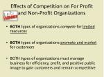 effects of competition on for profit and non profit organizations
