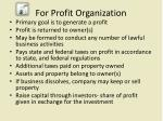 for profit organization