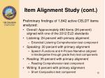 item alignment study cont1