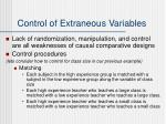 control of extraneous variables1