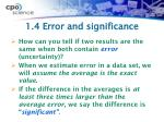 1 4 error and significance