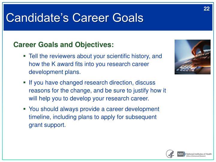 Candidate's Career Goals