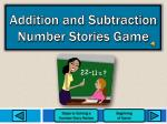 addition and subtraction number stories game