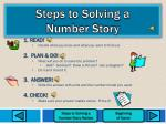 steps to solving a number story