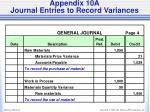 appendix 10a journal entries to record variances1