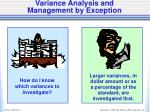 variance analysis and management by exception