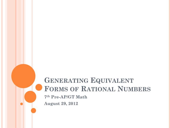 generating equivalent forms of rational numbers n.