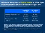 objective response by choi criteria a at week 8 per independent review per protocol analysis set