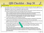 qis checklist step 30