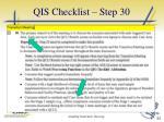 qis checklist step 301