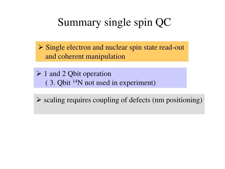 Summary single spin QC