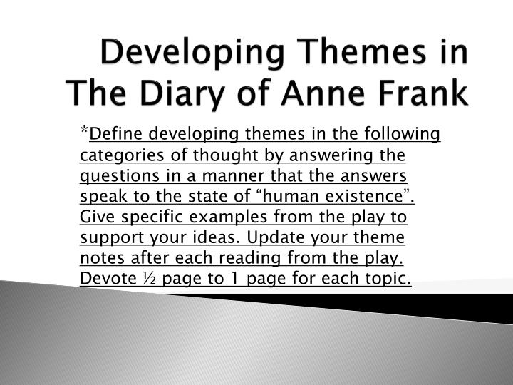 developing themes in the diary of anne frank n.