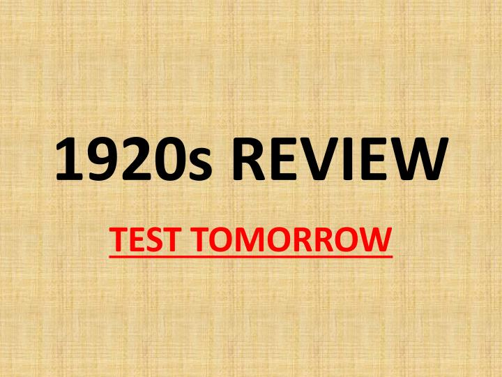 1920s review n.