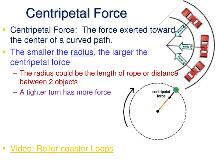 centripetal force The formula for centripetal force is: (f) = mass of the object (m)  tangential velocity (v) squared / distance from the center or radius (r) centripetal force is measured in newtons, and one newton equals 0225 pounds, according to education portal.
