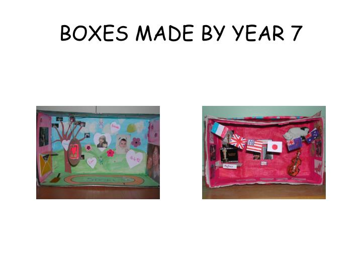 BOXES MADE BY YEAR 7