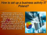 how to set up a business activity in poland
