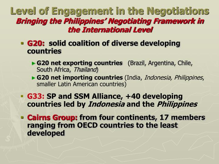 Level of Engagement in the Negotiations