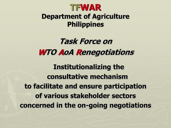 Tf war department of agriculture philippines